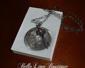 Story Line Necklace - Long Black Chain Pendant, Lock & Key and Charm Necklace With Swarovski Crystals - Ready to Ship