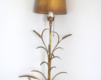 Vintage gold wheat sconce lamp/ Hollywood Regency/ glam/ wall lamp/hanging  ornate gold lamp w shade