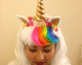 White Unicorn Wig accented with color bangs, Ears and Honr accented with little flowers, also a Clip on Tail, My little Pony