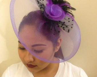 JOY - Lila Fascinator Headpiece Accented with a a Flower and Black Iridescent Feathers