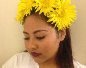 YELLOW DAISY FLOWER Headpiece, Statement Flower Headpiece, Summer Weddings, Spring, FLower Headband, For Her, Cinco De Mayo