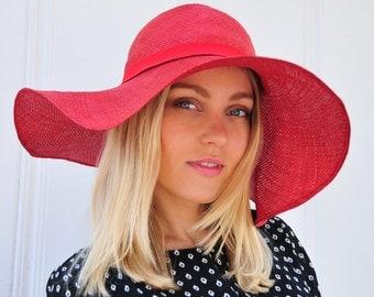 Red summer hat, Red hat, red straw hat with wide brim, straw hat, red fedora, fashion hat, Kentucky Derby hat
