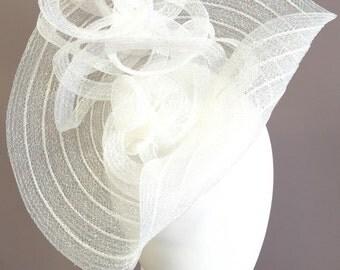 Kentucky Derby fascinator, white fascinator, wedding hat