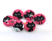 Black Cat / Office /  Pushpin / Sewing Button/  Magnet / Fabric Covered Button / Cosmo Japanese Fabric / Craft Button On Pink / Kawaii