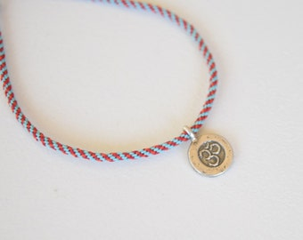 MANtRA - Om - Thin Cord Bracelet - Woven - Sterling Silver - Durable - Surfer Style / Hand Knotted by fig&fig