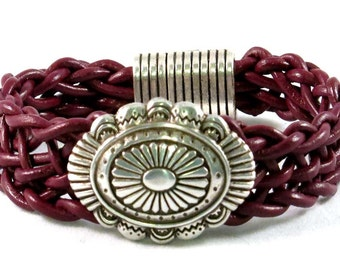 burgundy leather braided bracelet with American Indian inspired bead