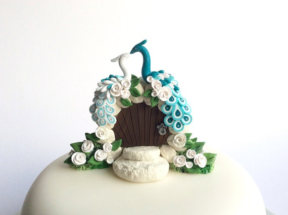 teal wedding cake toppers teal and white peacock themed wedding cake topper handmade 20789