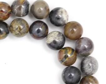 Silver Leaf Jasper Beads - 8mm Round - Full Strand
