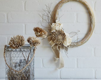 Picture Frame Wreath, Neutral Fall Wreath, Oval Wreath, Autumn Wreath, Natural Floral Wreath, Shabby Wreath,