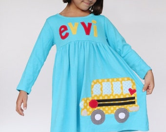 Back to School Dress, School Bus Dress, Personalized Back to School Bus Dress, You Choose Sleeve Length and Color