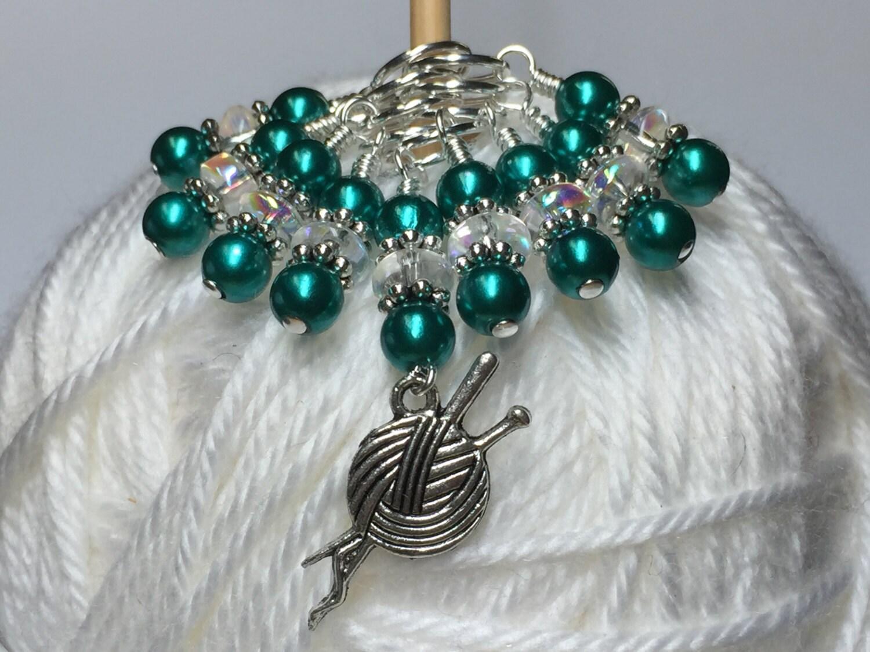 Beaded Knit Stitch Marker Pattern : Knitting Charm Beaded Stitch Marker Set Snag Free Knitting