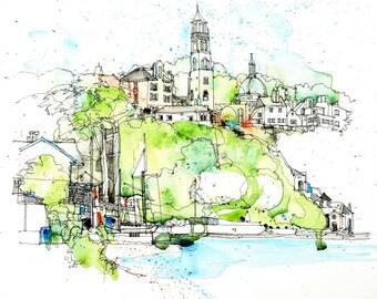 Portmeirion, an architectural watercolour