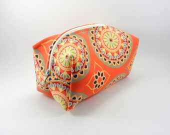 Tangerine Bohemian Makeup Bag, Gadget Case, Under 15, Pencil Case, Medium, Zippered, Cosmetic Case, For Her