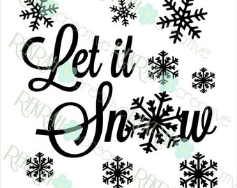 DIGITAL FILE ONLY Let it Snow Scripted for 9x9 Shadow Box, svg and png files