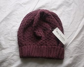 knit slouch winter hat organic wool and cotton SILJE - peony purple