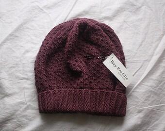 knit slouch winter hat organic wool and cotton SILJE - peony purple