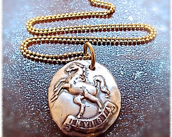 """UNCONQUERED  """"Invicta"""" Large Sterling Horse Pendant, Latin Phrase -   Antique Imagery - Heirloom Quality - Equestrian Gift - Horse Lover"""