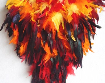 FIRE Phoenix Feather Exotic FEATHER Bustle Fantail Booty Shorts  Festival Stage Burlesque Made 4U