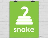 Snake Art Print, Snake Wall Print, Snake Wall Art, Reptile Art, Playroom Art, Childrens Art, Modern Nursery Print, Printable Art