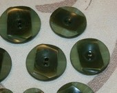 "Beautiful Set of 16 Vintage French Green Marbleized Plastic Deco Style Buttons, 3 Sizes, 1 1/4"" and 1 1/8"", 5/8"""