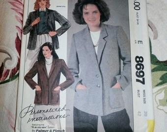 "1983 McCall's Palmer & Pletsch Pattern 8697 Misses Jacket Size 20, Bust 42"" Uncut, Factory Folds"