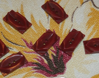 """Beautiful Set of 7 Vintage Red Plastic Rectangular Buttons, Neat Design 1 1/8"""" x 1/2"""""""