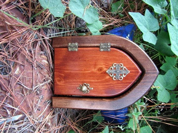 Opening castle fairy door by faekeepers on etsy for Wooden fairy doors that open
