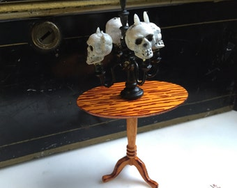 Orangey Amber dark brown Halloween  Painted lamp table or  side table - Dollhouse Size