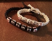 2 Hemp Bracelet Set Black Hemp n  White Hemp Square White Alphabet Beads Silver Button  6 1/2 And 8 Inches His And Hers Friendship Handmade