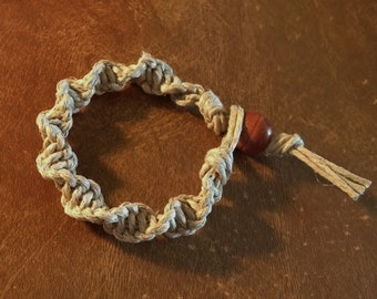 Handmade Thick Hemp Bracelet Spiral Knot Design Man Sized Natural Polished Tan Hemp Large Maroon And Cream Wood Bead Survival Type