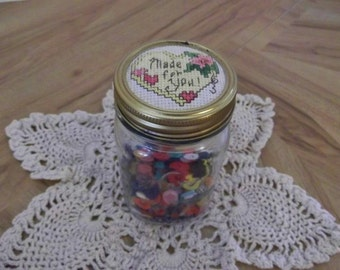 "Cross Stitch Heart ""Made for You"" Decorative Mason Kerr Pint Glass Jar Finished  Completed"