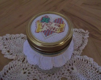 "Finished Cross Stitch Heart ""You Are Special"" Decorative Mason Kerr Pint Glass Jar"