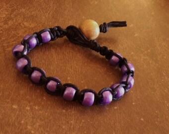 Clearance Black Hemp Bracelet Purple Plastic Pony Beads 1 Large Tan Colored Wood Bead 8 Inches Handmade