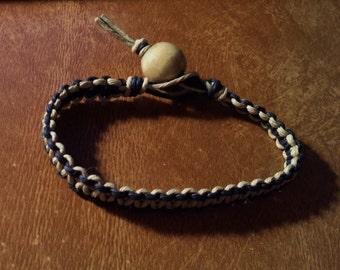 Clearance Hemp Bracelet Black And Tan Hemp Large Light Tan Bead 8 Inches Handmade