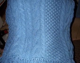 """Hand Knit Knitted Lap  Throw Cable Blanket : 48"""" X 72"""" Ready to ship"""