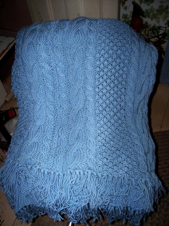 Hand Knit Knitted Lap Throw Cable Blanket 48 X