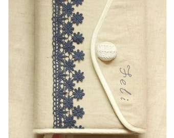 Fabric sewing kit Bible cover, Hobonichi cover Journal Cover  in  linen with white lace ,crochet,linen,cotton, custom made