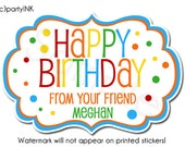 Personalized Happy Birthday In Rainbow Colors Fancy Frame Shaped Stickers - Gift Labels, Gift Stickers, Birthday Stickers, Gift Giving