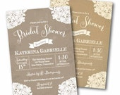 Kraft and Lace Rustic Bridal Shower Invite - Shabby Chic Wedding Doily Invite - diy printable digital design