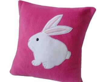 Pink Bunny cushion cute fleece rabbit cushion applique pillow