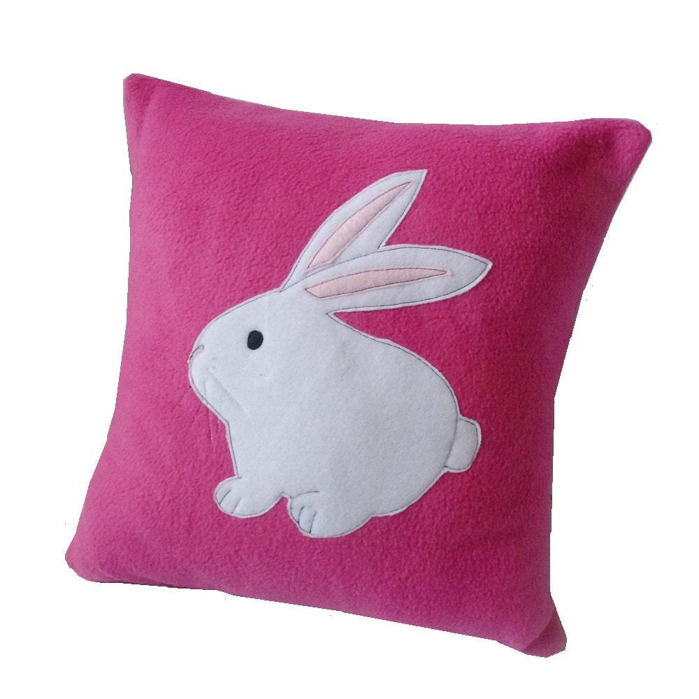 Cute Bunny Pillow : Pink Bunny cushion cute fleece rabbit cushion applique pillow
