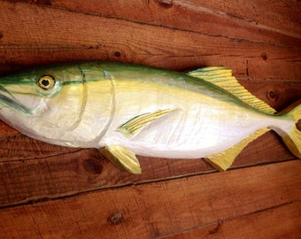 """Yellow Jack 48""""  orginial Todd Lynd chainsaw carving wooden sportfish wall mount nautical home decor rustic indoor outdoor fishing art"""