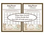 "SAVE 50 Percent!! 5 Printable ""Sleepy Safari Animals"" Game Bundle Pack 5 PDF Instant Digital Downloads included in One Pr"
