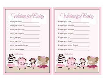 """Printable """"Tutu Cute Ballerina Animals"""" Wishes for Baby Cards Instant Digital Download"""