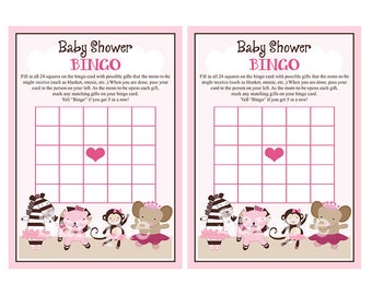 "Printable ""Tutu Cute/Ballerina Animals"" Bingo Game PDF Instant Digital Download"