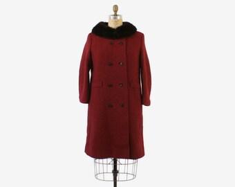 Vintage 60s Winter Coat / 1960s Ruby red & Black Tweed Wool Coat with Black MINK Fur Collar M