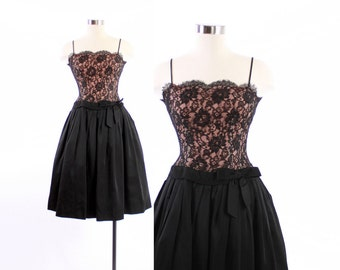 Vintage 50s DRESS / 1950s Black Lace & Pale Pink Nude Illusion Full Skirt Party Dress XS
