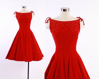 Vintage 50s Cocktail DRESS / 1950s RED Velvet Emma Domb Party Dress Full Skirt and Rhinestones XS