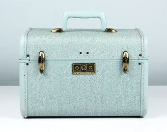 Vintage Samsonite Train Case, Streamlite, Small Suitcase, Samsonite Luggage, Cosmetic Case, Blue Case, Vintage Suitcase, Samsonite Suitcase