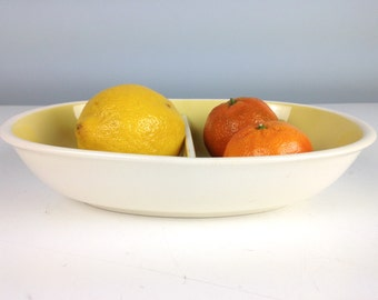 Harkerware Divided Serving Bowl in Yellow, Harkerware Stoneware, Divided Dish, Sun Glow Vegetable Bowl, Harker